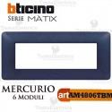 Placca 6 moduli blu mercurio  Bticino Matix