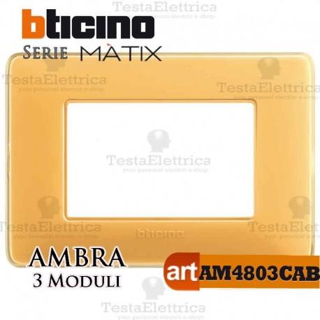 Placca 3 moduli ambraBticino Matix