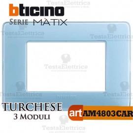 Placca 3 moduli turchese Bticino Matix