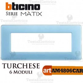 Placca 6 moduli turchese Bticino Matix