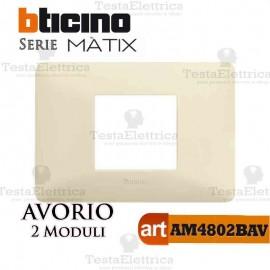 Placca 2 moduli Avorio Bticino Matix