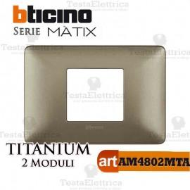 Placca 2 moduli Titanium Bticino Matix