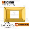 Placca 2 moduli oro satinato Bticino Matix