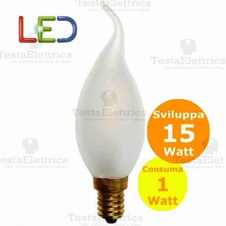 Lampada filo led colpo di vento smerigliata tutto vetro 1 Watt E14