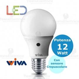 Lampadina a led con sensore crepuscolare goccia E27 12 Watt Wiva