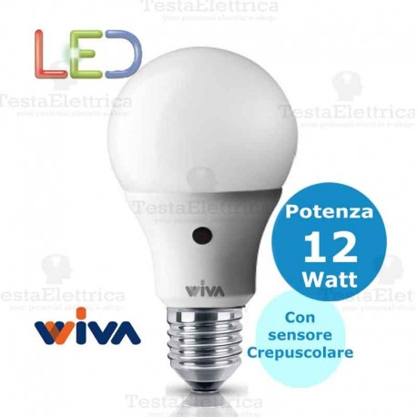 Sensore Accensione Lampade Con Crepuscolare.Lampadina A Led Con Sensore Crepuscolare Goccia E27 12 Watt Wiva