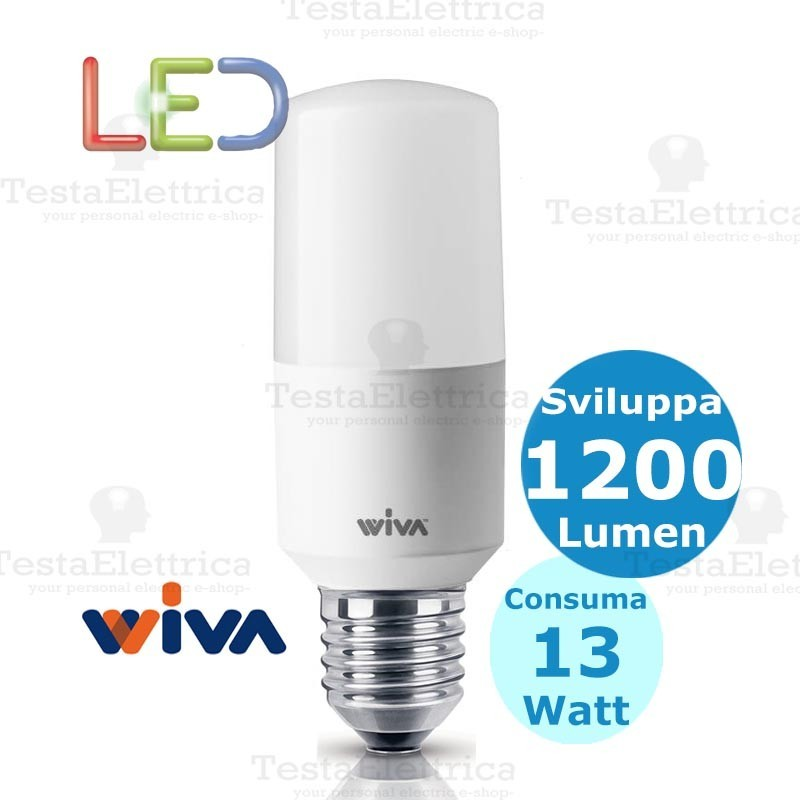 Lampadina a led tubolare e27 13 watt wiva for Lampadina e27 led