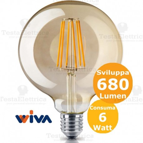 Lampadina a filamento led Globo E27 vetro ambrato Wiva