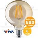 Lampadina filo led a Globo in vetro ambrato 6 Watt E27 Wiva