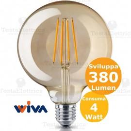 Lampadina filo led a Globo in vetro ambrato 4 Watt E27 Wiva