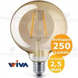 Lampadina filo led a Globo in vetro ambrato 2,5 Watt E27 Wiva