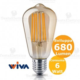 Lampadina filo led ST64 in vetro ambrato 6 Watt E27 Wiva