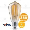 Lampadina filo led ST64 in vetro ambrato 4 Watt E27 Wiva