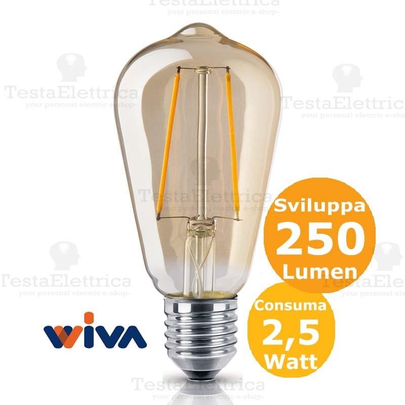 Lampadina st64 filamento led vetro ambrato 2 5 watt e27 for Lampadine led 60 watt