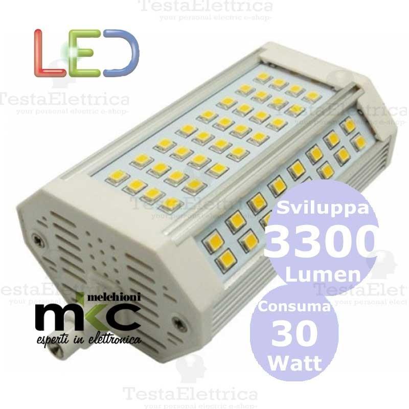 Lampadina led r7s dimmerabile 118 mm 30 watt melchioni milano for Lampada led 50 watt