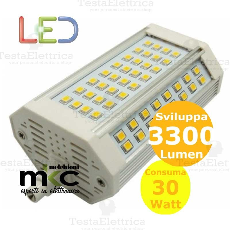 Lampadina led r7s dimmerabile 118 mm 30 watt melchioni milano for Lampade a led watt