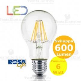 Lampadina Led a filamento 6 watt e27 Rosalight