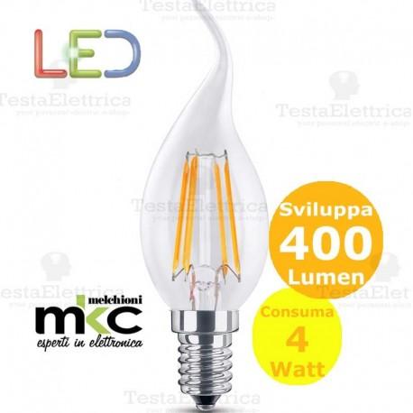 Lampadina filamento led colpo di vento 4 Watt E14 3000k