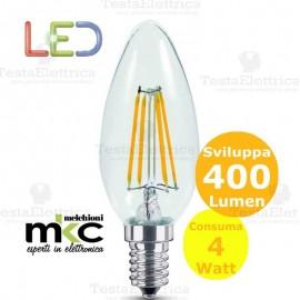 Lampadina filamento led oliva 4 Watt E14 3000k