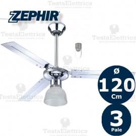 Ventilatore da soffitto Cromo Lucido con luce e telecomando Zephir