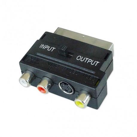 Adattatore audio video SCART Maschio a RCA femmina + S-video