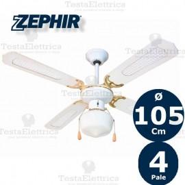 Ventilatore da soffitto Legno Bianco con luce Zephir