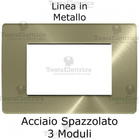 Placca in Metallo Acciaio Spazzolato compatibile con serie Bticino Matix