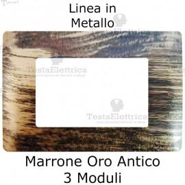 Placca in Metallo Marrone Oro Anticato compatibile con serie Bticino Matix