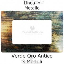 Placca in Metallo Verde Oro Anticato compatibile con serie Bticino Matix