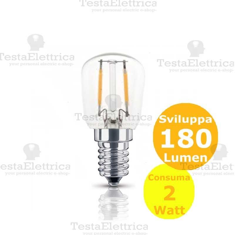 Lampada led per frigo e14 2 watt luce fredda calda e naturale for Lampade a led watt