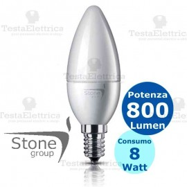Lampadina a led candela 8 Watt E14 Stone