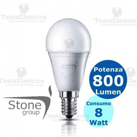 Lampadina a led sfera 8 Watt E14 Stone