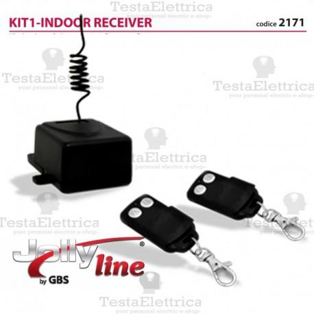 KIT1-INDOOR RECEIVER Kit ricevitore da interno a 433,92 Mhz + 2 radiocomandi Fix Code