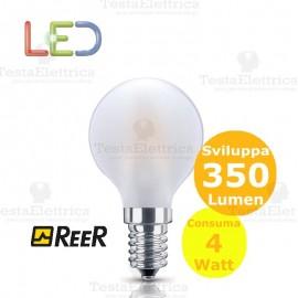 Lampada filo led pallina smerigliata tutto vetro 4 Watt E14 ReeR