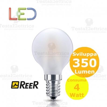 Lampada filo led palloina smerigliata tutto vetro 4 Watt E14 GBC