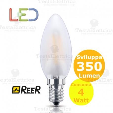 Lampada filo led oliva candela smerigliata tutto vetro 4 Watt E14