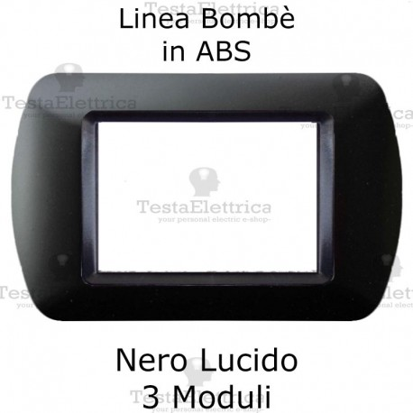 PLACCA NERA LUCIDA 3 POSTI  SERIE LIFE COMPATIBILE BTICINO LIVING INTERNATIONAL