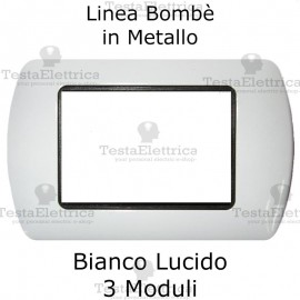 Placchetta compatibile Bticino Living Light bianca in metallo