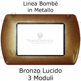Placchetta compatibile Bticino Living Light Bronzo Lucido in metallo