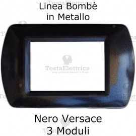 Placchetta compatibile Bticino Living Light nera in metallo